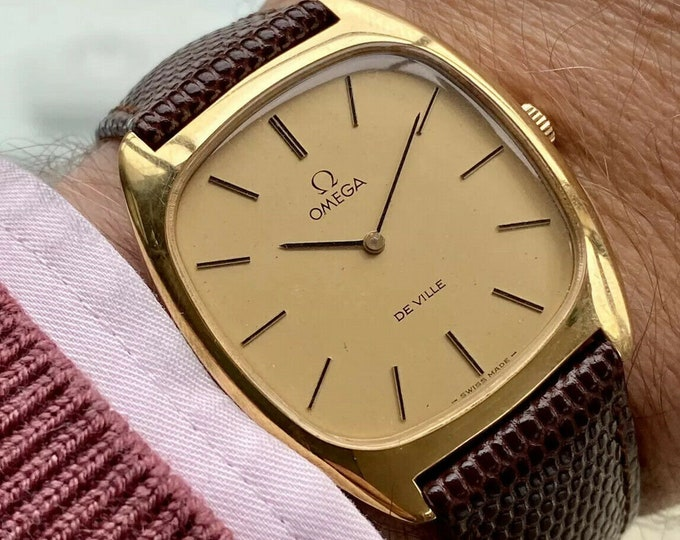 Omega vintage De Ville Gold Brown Leather mens Mechanical Hand Winding square dial watch + New Box