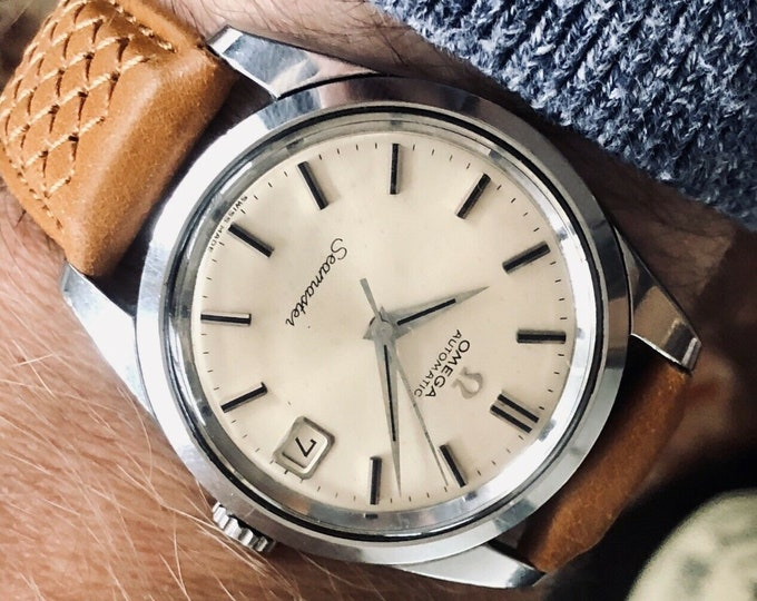 Omega Seamaster Stainless Steel Mens Vintage 1966 watch with brown leather strap + Box