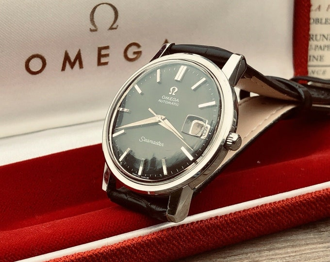 Omega Mens Seamaster Black Dial 1960s Stainless Steel second hand vintage Watch CAL 565 Automatic 1960s + Box
