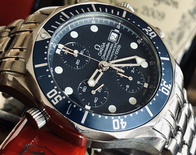 Omega Seamaster Diver 300M Automatic 41.5mm Chronograph Stainless Steel Blue Dial Band Divers Mens heavy duty wristwatch chronometer + Box