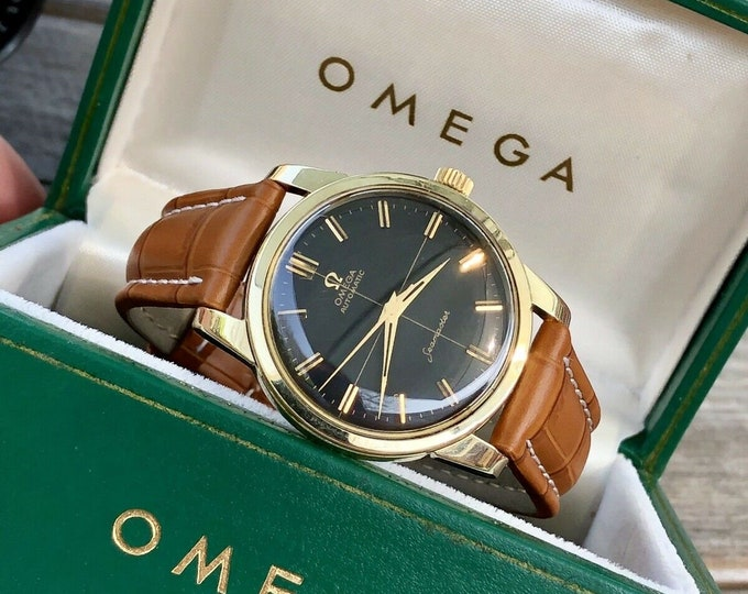 Omega Mens Seamaster 1960s Stainless second hand vintage Watch CAL 552 Automatic 1960s luxury new leather band strap + Green Omega Box