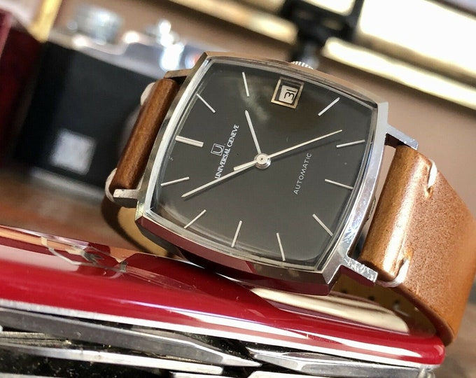Universal Geneve Steel Black Square Dial Automatic vintage mens watch + Box