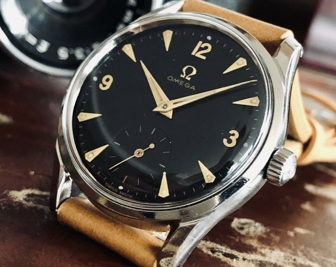 Omega 1950 vintage Sub Seconds Black Dial Face Rare Caliber 265 Men watch + Box