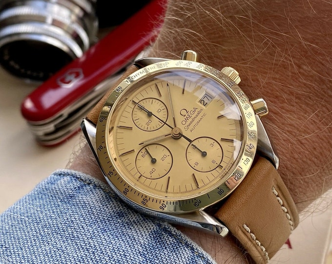 Omega Speedmaster Ref 3311 18K Gold Steel Champagne Dial Men's Automatic Calibre 1155 watch serviced June 2021