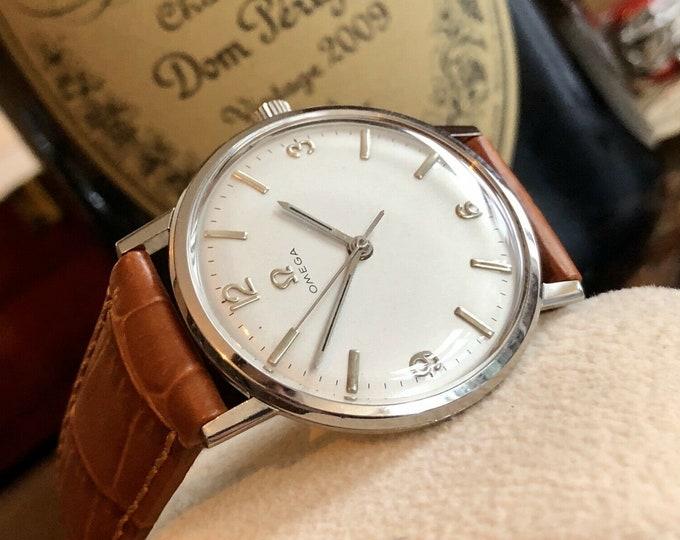 Omega vintage 1965 Mens unisex 34mm vintage classic mechanical cal 601 watch + Box