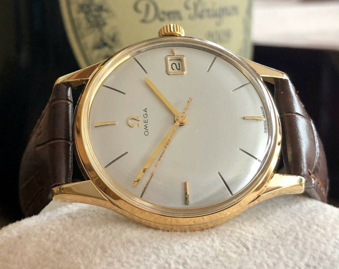 Omega 1960 vintage Seamaster Gold Plated Mechanical Leather Mens watch + Box