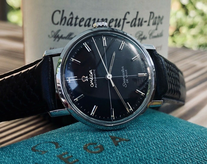 OMEGA Seamaster De Ville Mens vintage watch crosshair Black Dial + original Box