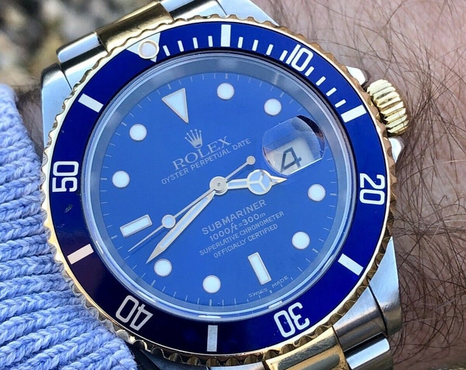 Rolex Submariner 16613 Blue Dial Bi Metal 2004/05 Case 2160 Calibre Movement 3135 18K Gold & Steel 40mm case + Box