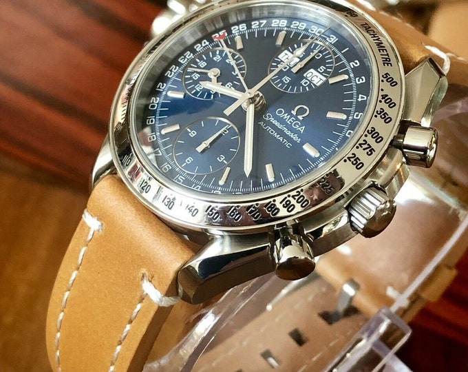 Omega Speedmaster Chronograph Blue Dial Men's Automatic Triple date steel watch + New Box + Leather strap