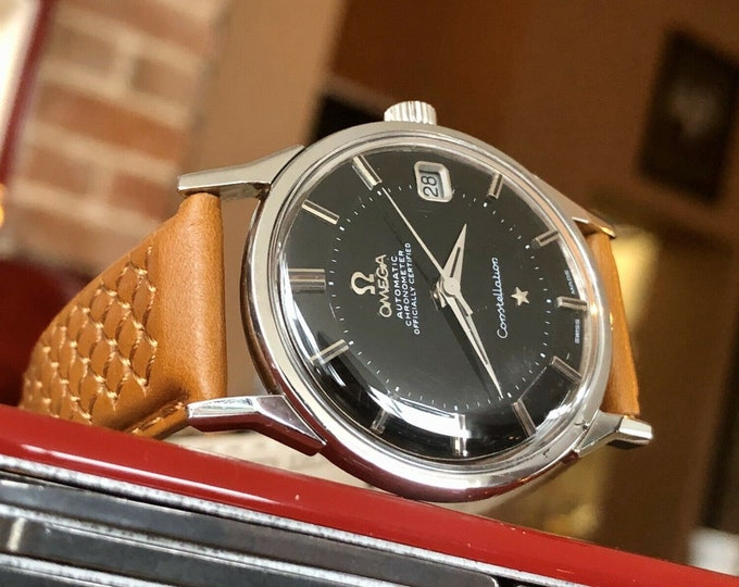 Omega Constellation Pie Pan Automatic black dial face vintage mens 1973 watch + Box