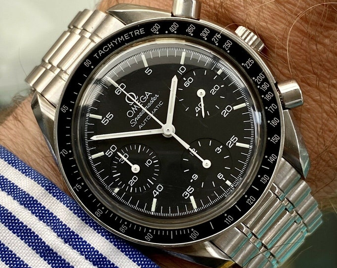 Omega Speedmaster 2000 Black Dial Men's reduced 38mm Automatic semi vintage watch card / papers + Box