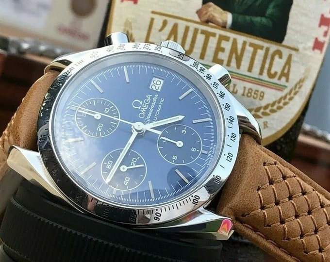 Omega Speedmaster 1990s Blue Dial Men's 38mm reduced Automatic calibre 1155 Ref 3511.80 watch + New Box