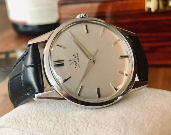 Omega vintage 1961 Mens watch cal 552 Automatic Grey Dial watch + New Box