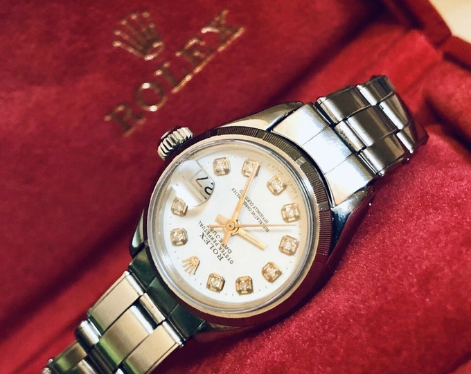 Rolex Oyster Perpetual Datejust Ref 6916 vintage Automatic diamonds Lady womens watch + Box