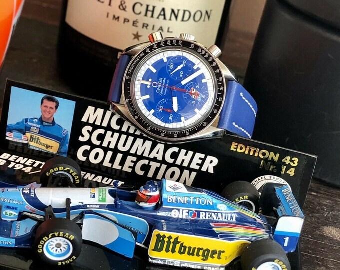 Omega Speedmaster Blue Dial Men's Cart Michael Schumacher Paul Newman Michael Andretti Automatic watch + Box