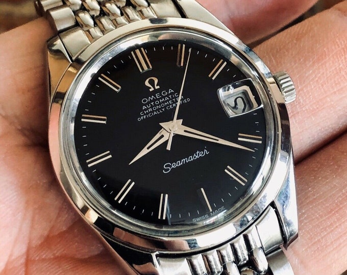 Omega Automatic Seamaster Mens Vintage Black dial 1969 steel dress watch + Box