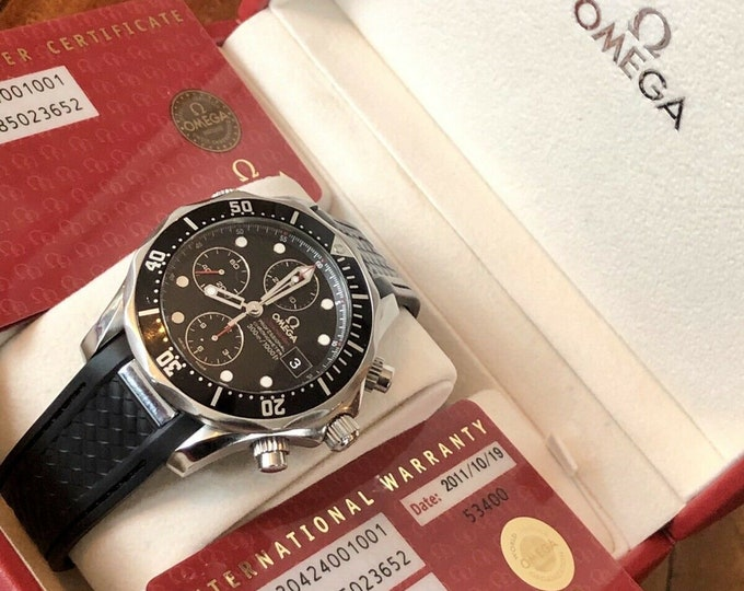 Omega Seamaster Diver 300M Automatic 41.5mm Chronograph Stainless Steel Black Dial Band Divers Mens heavy duty wristwatch chronometer + Box