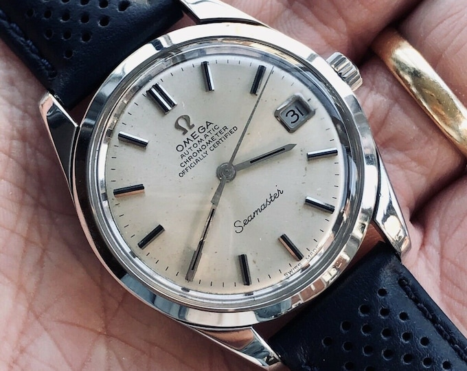 Omega Seamaster Leather + Steel Bead Rice Bracelet Mens Vintage Automatic watch serviced revised September 2020 1969 watch