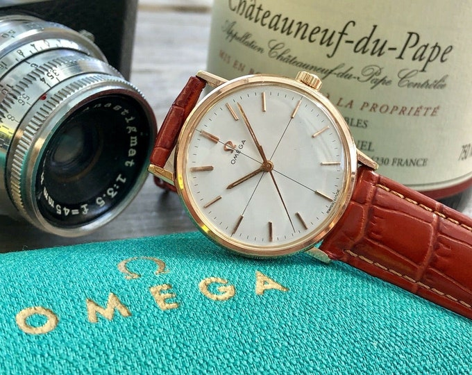 OMEGA Vintage Bordeaux Red leather strap Mens Crosshair 1960s Mechanical Rose Pink Gold Watch CAL 601 + Green Omega Box