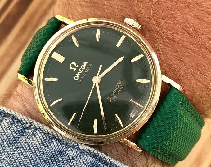 OMEGA Seamaster De Ville Mens vintage watch crosshair Green Dial + Box 1960s used second hand + New Box