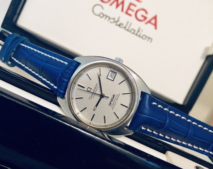 Omega vintage 1970s Constellation Chronometer Grey Dial Date Calendar Windwon CAL 1011 Automatic Mens gents second hand watch + Box