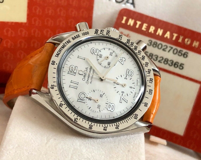 Omega Speedmaster Mother Of Pearl Dial Men's reduced Calibre 3220 Automatic watch Full Set papers + Box