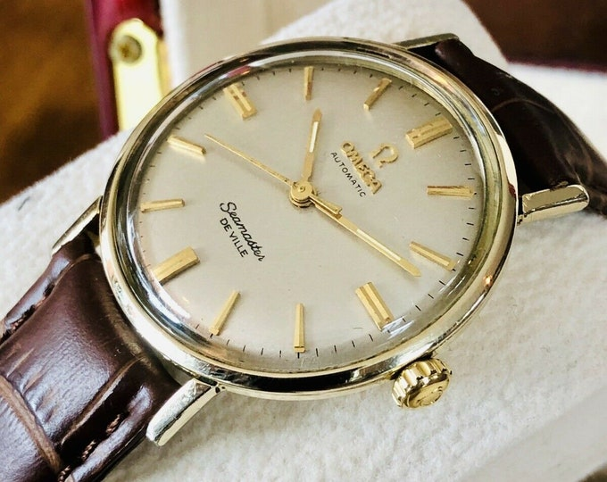 OMEGA 14 Gold filled Seamaster De Ville Mens vintage watch crosshair Dial + New Box