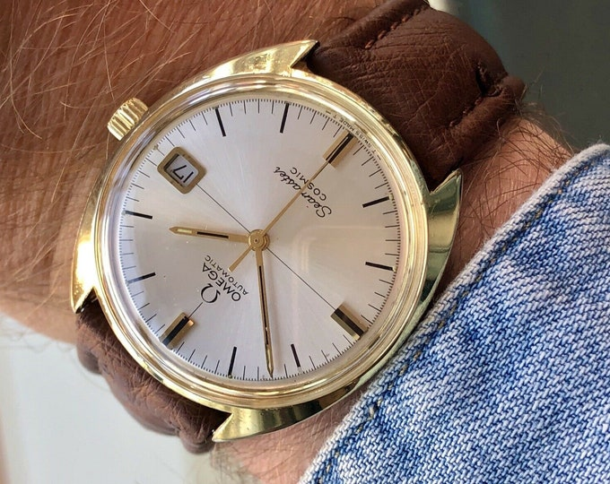 Omega Mens Seamaster Cosmic Gold Plated Automatic Vintage New Strap serviced September 2020 watch