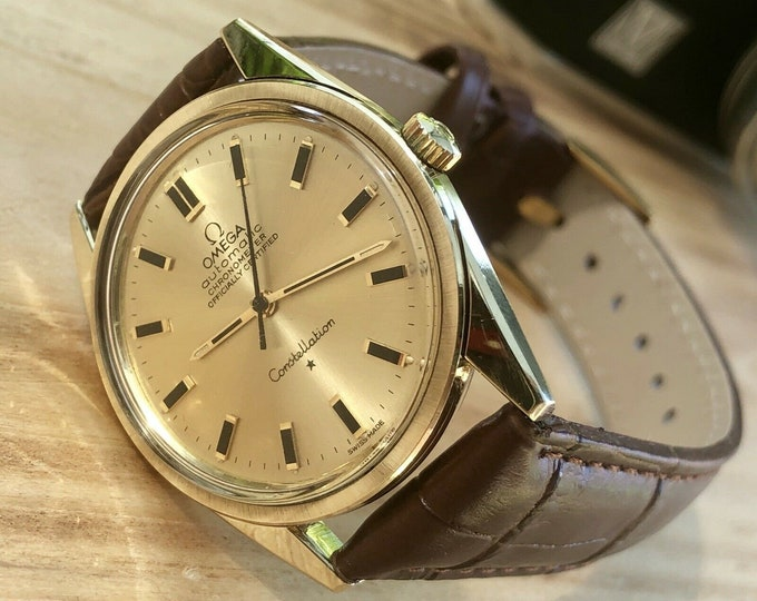 Omega vintage Gold Capped Calibre 712 Constellation 1960s Automatic second hand watch + box