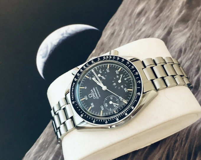 Omega Speedmaster Automatic Reduced Chronograph Moonwatch Moon Watch 175.0032 Cal 1140 Men's Automatic Tachymeter Black Dial Face + Box