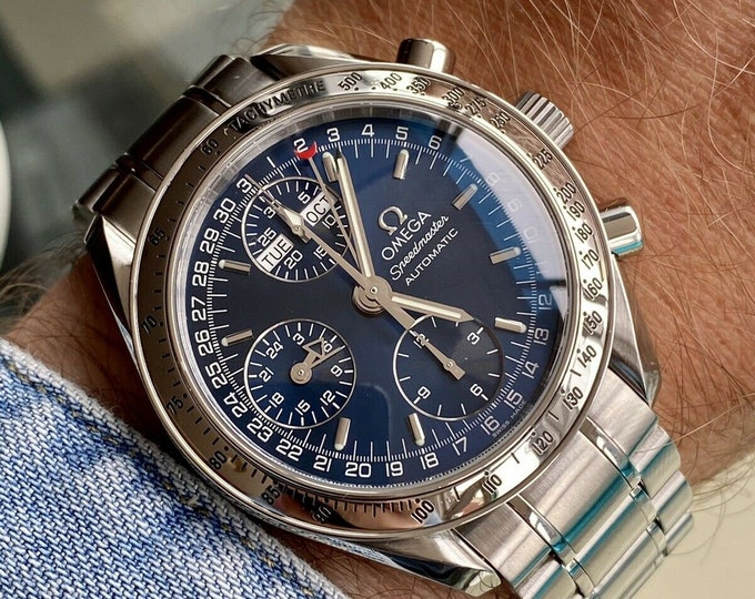 Omega Speedmaster Navy Blue Dial Men's Automatic Triple date watch + Box + Nato