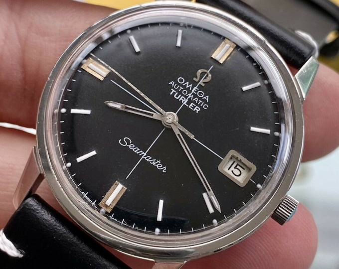 Omega Seamaster TURLER Black Dial face Steel Automatic Steel 1966 serviced November 2020 watch