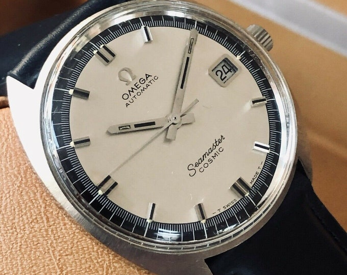Omega Seamaster Cosmic Automatic Date grey and navy blue dial vintage mens 1967 watch + Box