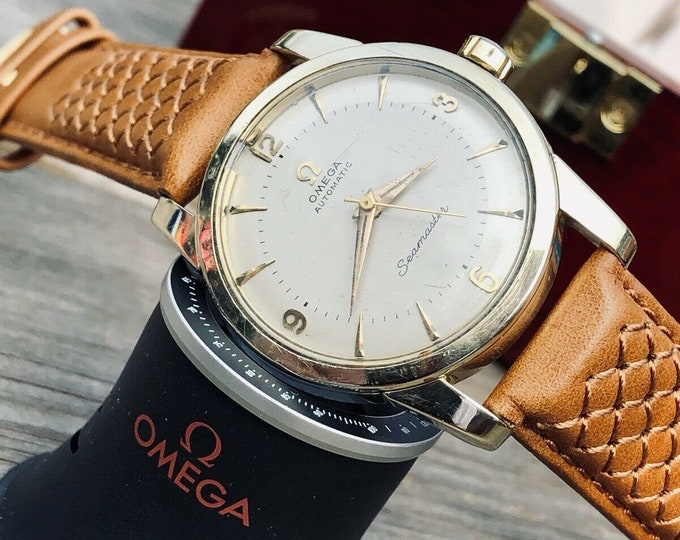 Omega Mens Seamaster 1960s Stainless second hand vintage Watch CAL 501 Automatic 1960s luxury new leather band strap + Box