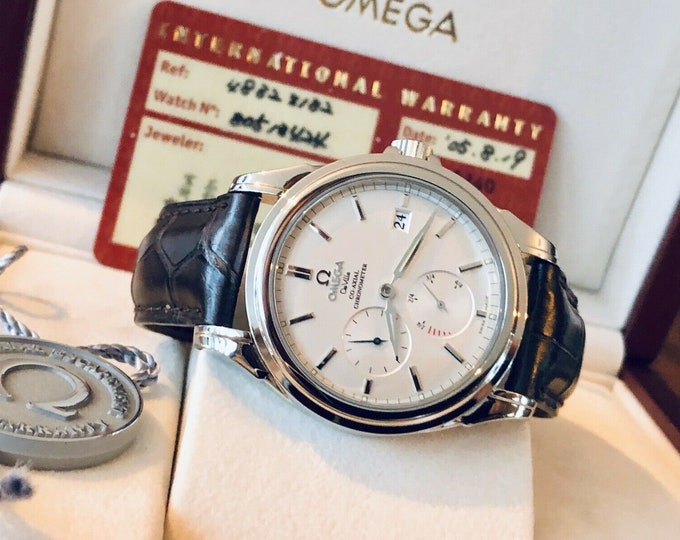 Omega DeVille 38.7mm Steel Silver Power Reserve Co-Axial Automatic Mens watch Full Set + Box