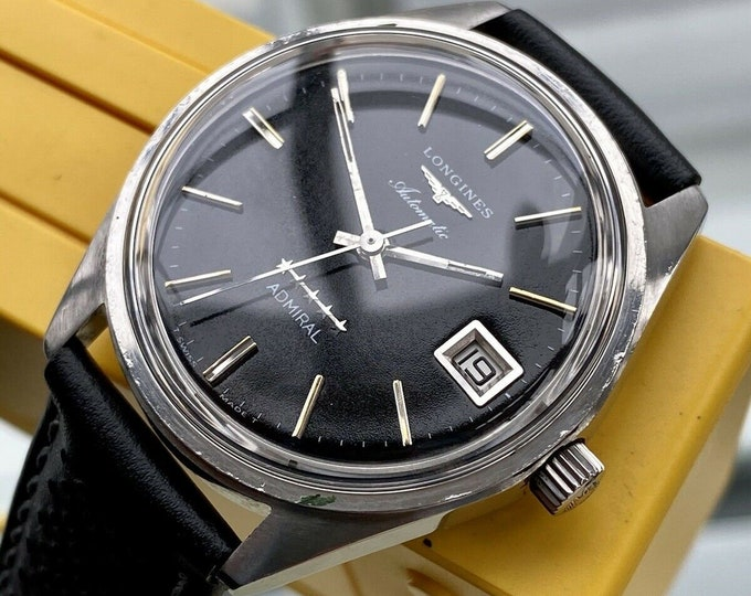 Longines Vintage Admiral 5 Star Men's Black Dial Face Automatic Serviced March 2021 Watch