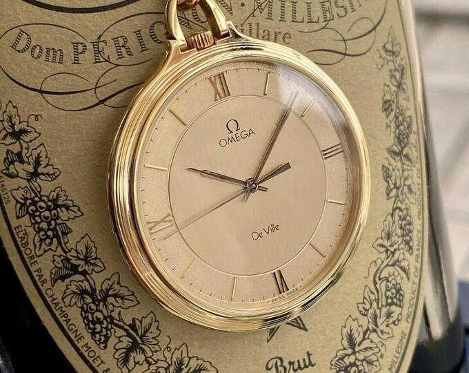 Omega Vintage De Ville Gold Plated Pocket Men's 1982 Swiss Quartz rare serviced May 2021 watch