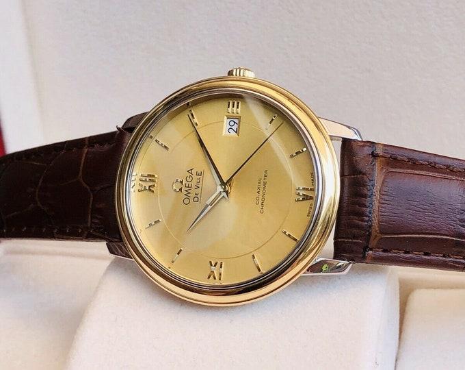 Omega DeVille Prestige 18K Gold Mens dress watch Co-Axial Full Set Automatic + Box