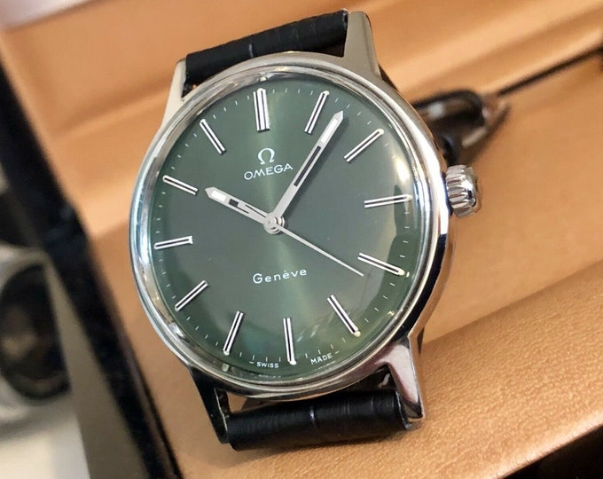 Omega Mens 1960 to 1969 Geneve Green Dial Face vintage watch Cal 601 Mechanical gents clock + box