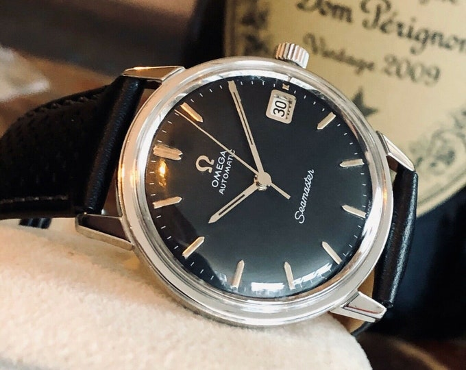 Omega Automatic Seamaster 1966 Mens Vintage Steel Black Dial face serviced watch + Box
