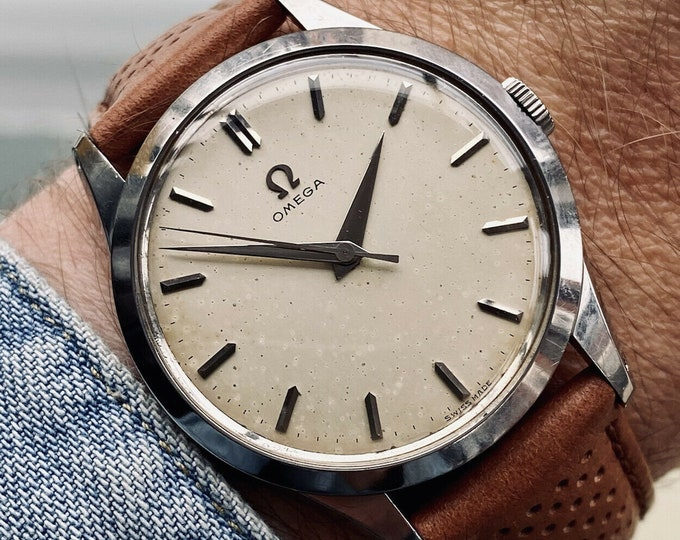 Omega Classic 1952 Steel Mens Vintage Mechanical Hand Winding antique 35mm watch