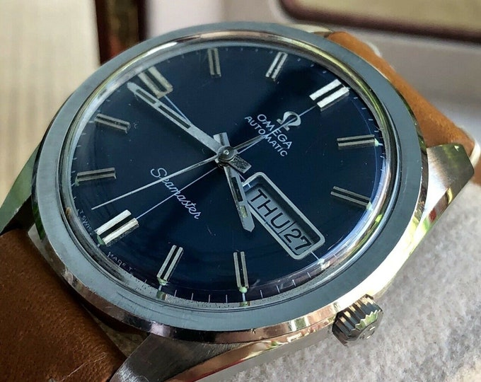 Omega Mens Seamaster Blue Dial Day Date Steel vintage Date Automatic watch + Box