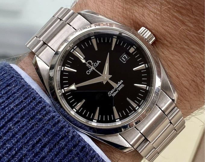 Omega Seamaster Aqua Terra 150M 36mm Steel Black Dial mens watch Box Card Papers