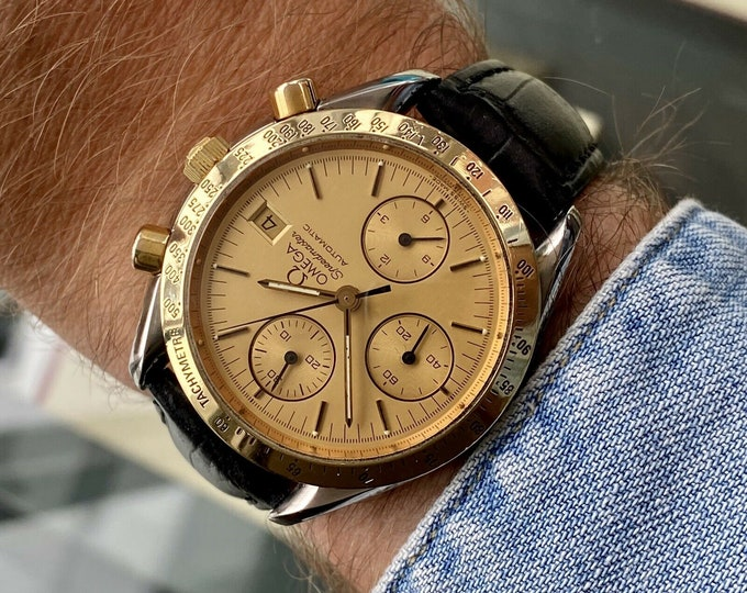 Omega Speedmaster Ref 3311 18K Gold Steel Champagne Dial Men's Automatic Calibre 1155 watch serviced October 2020