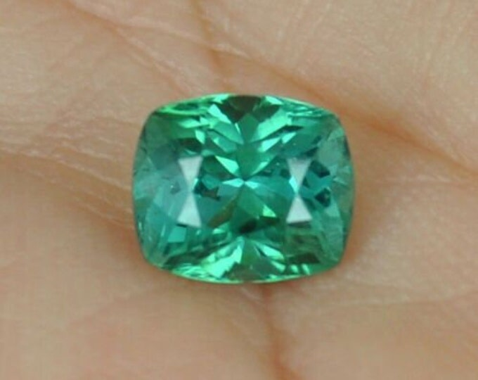 2.60Ct FLAWLESS Green Blue Cushion cut Tourmaline Gemstone 8mm x 7mm x6mm paraiba origin Paach Mine, Pakistan - very near the Kashmir border