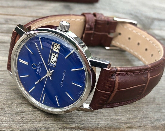 Omega Mens Seamaster Day Date Blue Dial Automatic Cal 1020 1970s Mens vintage steel watch with new box and brown strap + Box