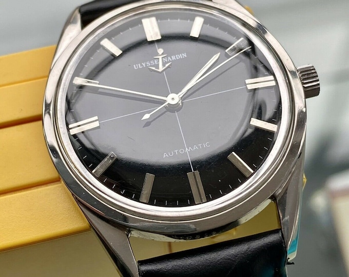 Ulysse Nardin Steel Black Dial Automatic N73 vintage 1960s mens serviced watch