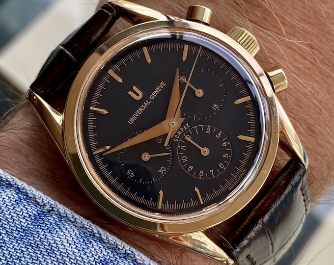Universal Geneve Compact 18K Solid Rose Gold Chronograph Black Dial mens 36mm semi vintage Watch