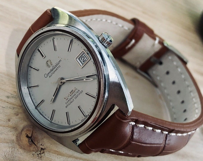 OMEGA Vintage 1973 Mens Constellation Chronometer status Automatic Brown Leather Original Dial Leather Watch CAL 1011 + New Box
