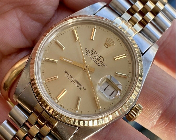 Rolex Oysterdate Perpetual vintage Gold Steel Two Tone Datejust Men 1979 vintage Serviced April 2021 watch + Box